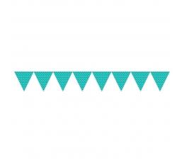 Vėliavėlių girlianda, taškuota turkio spalvos (2,74 m)