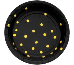 Lėkštutės, juodos-auksinės taškuotos (8 vnt./18 cm)