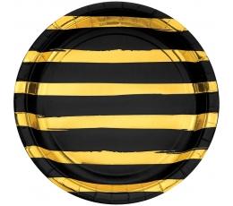 Lėkštutės, juodos-auksinės dryžuotos (8 vnt./22 cm)