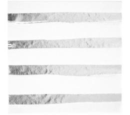 Servetėlės, baltos-sidabrinės dryžuotos (16 vnt.)