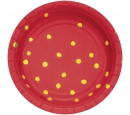 Lėkštutės, raudonos-auksinės taškuotos (8 vnt./18 cm)