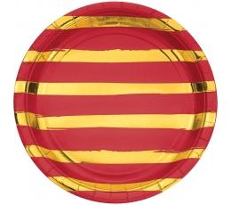 Lėkštutės, raudonos-auksinės dryžuotos (8 vnt./22 cm)
