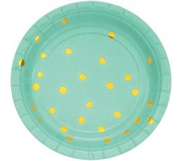 Lėkštutės, mėtinės-auksinės taškuotos (8 vnt./18 cm)