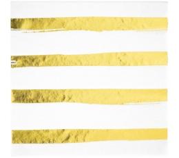 Servetėlės, baltos-auksinės dryžuotos (16 vnt.)