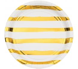 Lėkštutės, baltos-auksinės dryžuotos (8 vnt./22 cm)