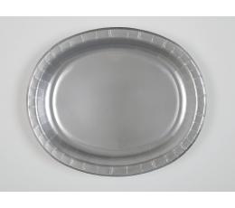 Lėkštutės, sidabrinės ovalios (8 vnt./30 cm)