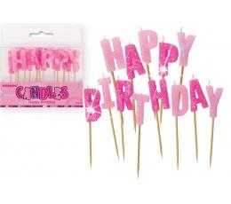 """Žvakutės-smeigtukai """"Happy Birthday"""", rožinės"""