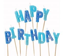 """Žvakutės-smeigtukai """"Happy Birthday"""", mėlynos"""