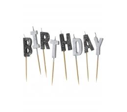 """Žvakutės """"Happy Birthday"""", juodos blizgios"""