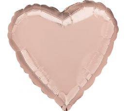 Folinis balionas-širdelė, rožinis auksas (43 cm)