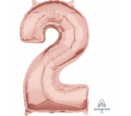 """Folinis balionas-skaičius """"2"""", rožinis auksas (66 cm)"""