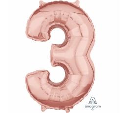 """Folinis balionas-skaičius """"3"""", rožinis auksas (66 cm)"""