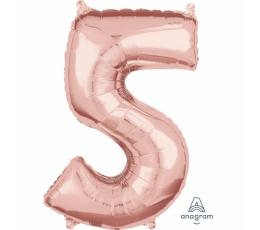 """Folinis balionas-skaičius """"5"""", rožinis auksas (66 cm)"""