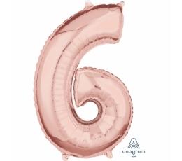 """Folinis balionas-skaičius """"6"""", rožinis auksas (66 cm)"""
