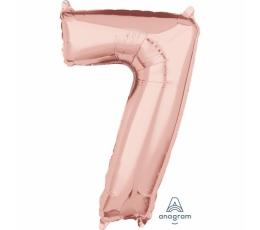 """Folinis balionas-skaičius """"7"""", rožinis auksas (66 cm)"""