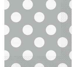 Servetėlės, taškuotai sidabrinės (16 vnt./33x33 cm)