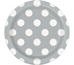 Lėkštutės, taškuotai sidabrinės (8 vnt./18 cm)