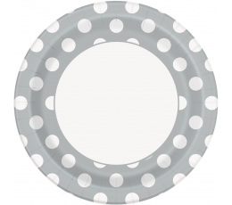 Lėkštutės, taškuotai sidabrinės (8 vnt./23 cm)