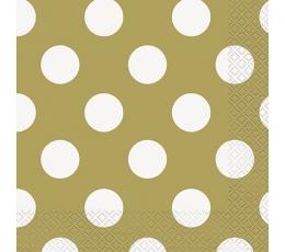 Servetėlės, taškuotai auksinės (16 vnt./33x33 cm)