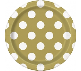 Lėkštutės, taškuotai auksinės (8 vnt./18 cm)