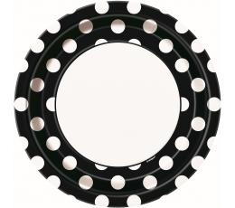 Lėkštutės, taškuotai juodos (8 vnt./23 cm)