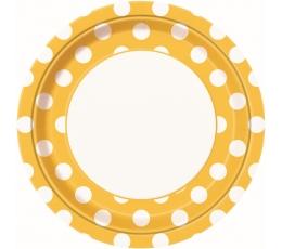 Lėkštutės, taškuotai geltonos (8 vnt./23 cm)