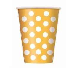 Puodeliai, taškuotai geltoni (6 vnt./355 ml)