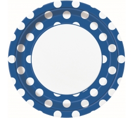 Lėkštutės, taškuotai mėlynos (8 vnt./22 cm)