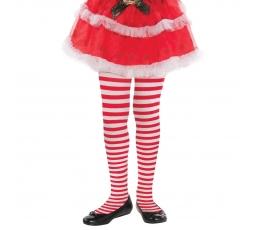 Mergaitiškos pėdkelnės, raudonai dryžuotos