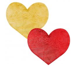 Dekoracijos-širdelės, gofruotos raudonos/auksinės (20 vnt./7 cm)