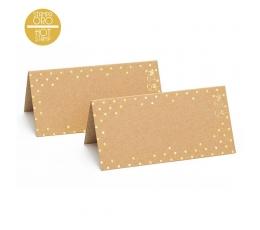 Vardų kortelės, kraft-auksiniai taškuotos (10 vnt.)