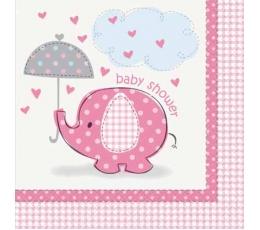 """Servetėlės """"Baby Shower drambliukas"""", rožinės(16 vnt.)"""