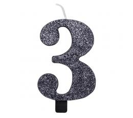 """Žvakutė """"3"""", juoda blizgi"""