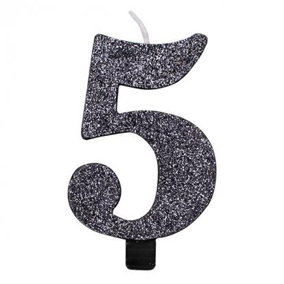 """Žvakutė """"5"""", juoda blizgi"""