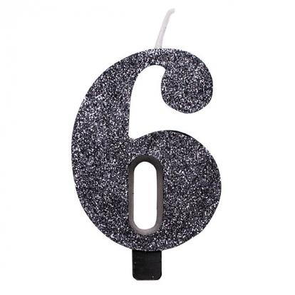 """Žvakutė """"6"""", juoda blizgi"""