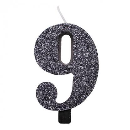 """Žvakutė """"9"""", juoda blizgi"""