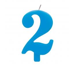 """Žvakutė """"2"""", mėlyna spragsinti"""