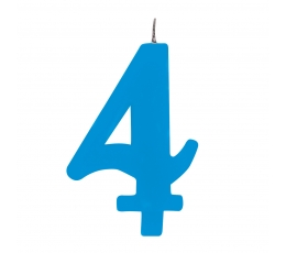 """Žvakutė """"4"""", mėlyna spragsinti"""