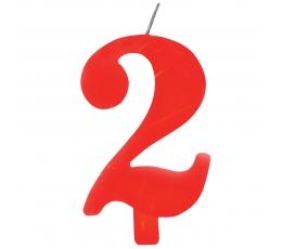 """Žvakutė """"2"""", raudona spragsinti"""