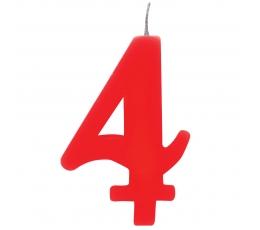 """Žvakutė """"4"""", raudona spragsinti"""