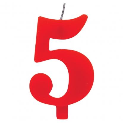 """Žvakutė """"5"""", raudona spragsinti"""