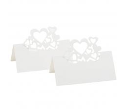 """Stalo-vardų kortelės """"Širdelės"""", perlamutrinės baltos (10 vnt.)"""