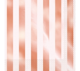 """Servetėlės """"Rožinis auksas"""", dryžuotos (16 vnt.)"""