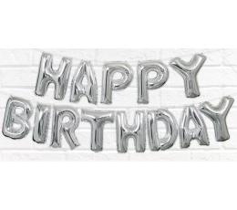 """Folinių balionų rinkinys """"Happy birthday"""", sidabrinis (35 cm)"""