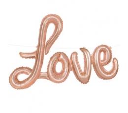 """Folinių balionų rinkinys """"Love"""", rožinis auksas (35 cm)"""