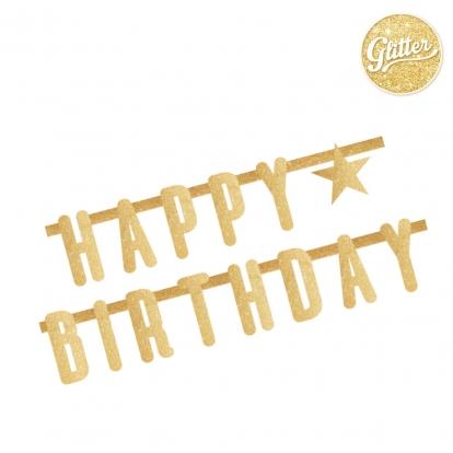 "Girlianda ""Happy Birthday"", auksinė blizgi (2,2 m)"