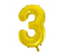 "Folinis balionas ""3"", auksinis (85 cm)"