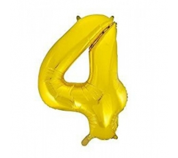 "Folinis balionas ""4"", auksinis (85 cm)"