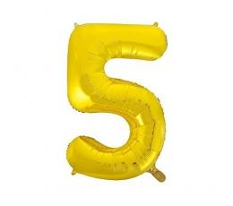 "Folinis balionas ""5"", auksinis (85 cm)"