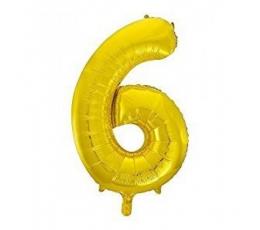 "Folinis balionas ""6"", auksinis (85 cm)"